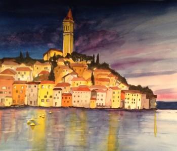 Rovinj, Croatia at dusk